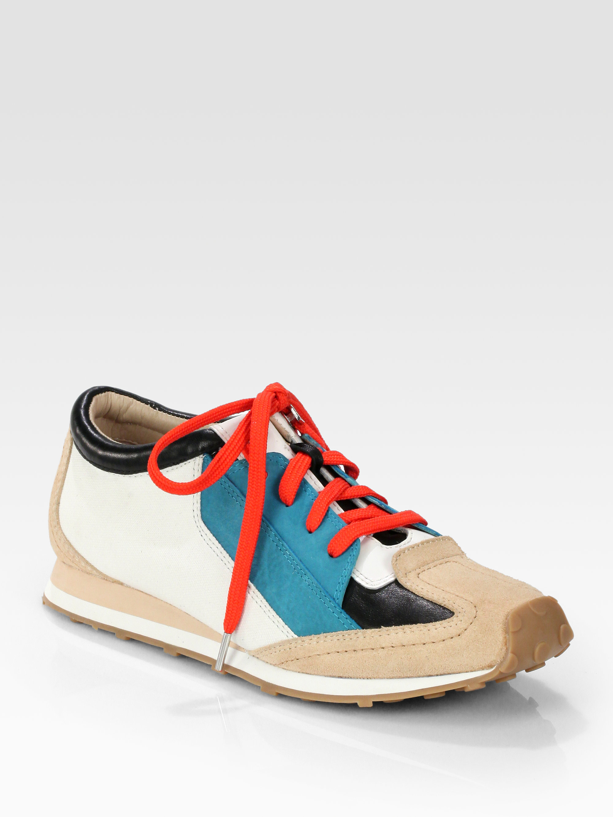 Lyst Elizabeth And James Evva Leather Suede Laceup Sneakers