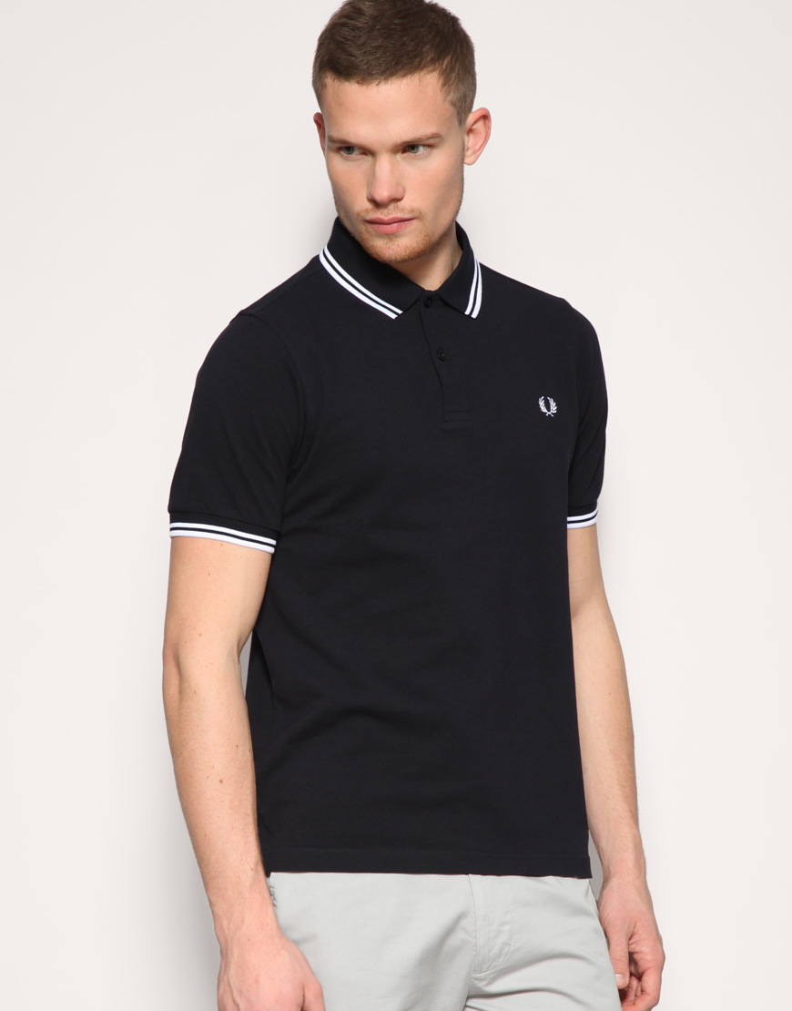 hurley fred perry slim fit twin tipped polo top in blue for men navy lyst. Black Bedroom Furniture Sets. Home Design Ideas
