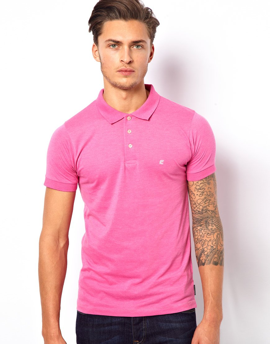 Lyst french connection jersey polo shirt in pink for men Man in polo shirt