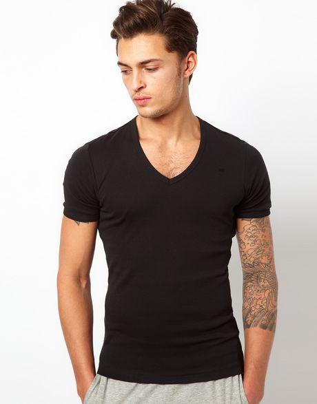 star raw g star 2 pack v neck t shirt in black for men lyst. Black Bedroom Furniture Sets. Home Design Ideas