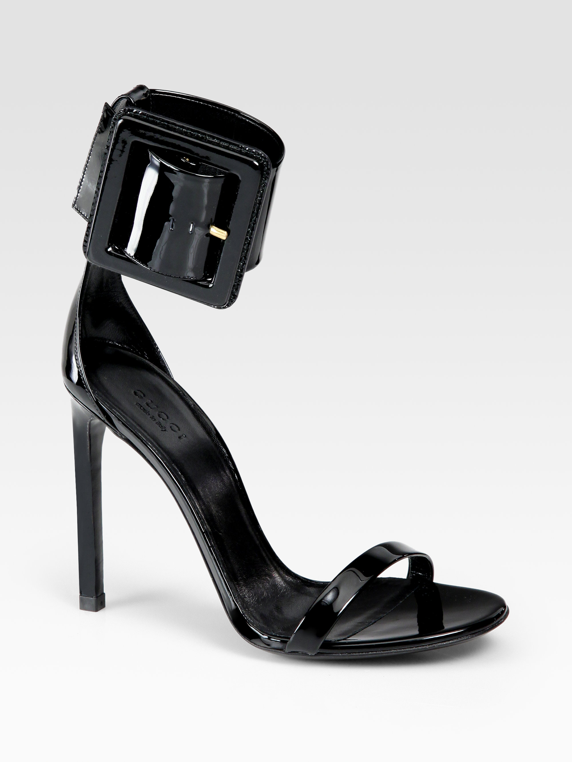 d663d8103f7 Lyst - Gucci Leather Buckle Ankle Strap Sandals in Black
