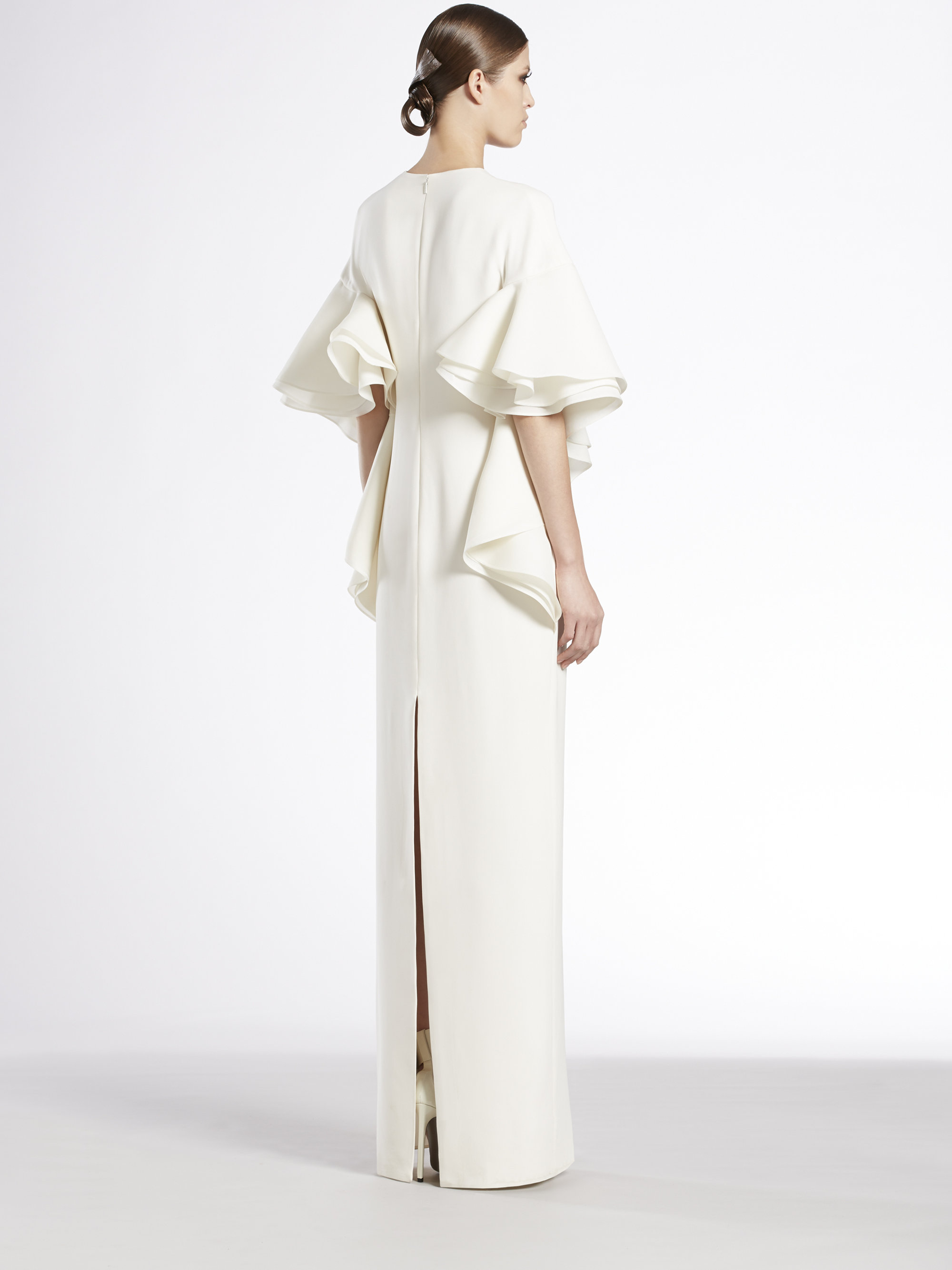cf2f129bd Gucci Silk Cady Flounce Gown in White - Lyst