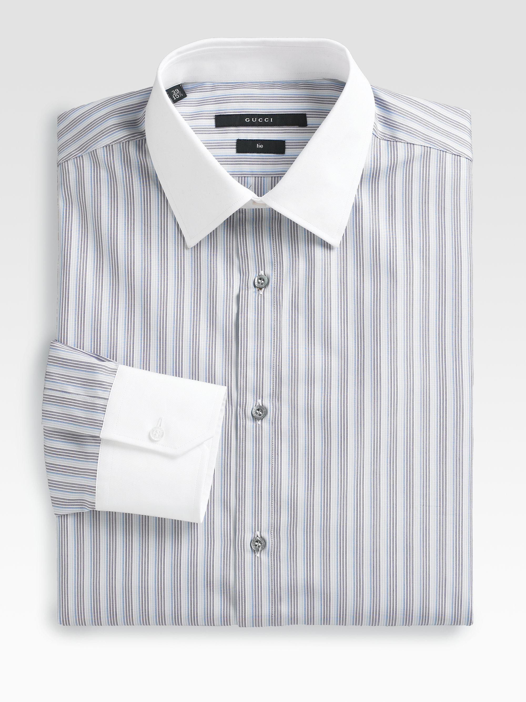 3b7b50bc Gucci Striped Dress Shirt in Blue for Men - Lyst