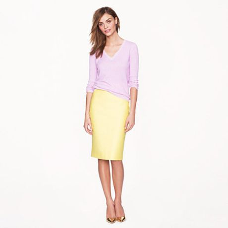 j crew no 2 pencil skirt in doubleserge cotton in yellow