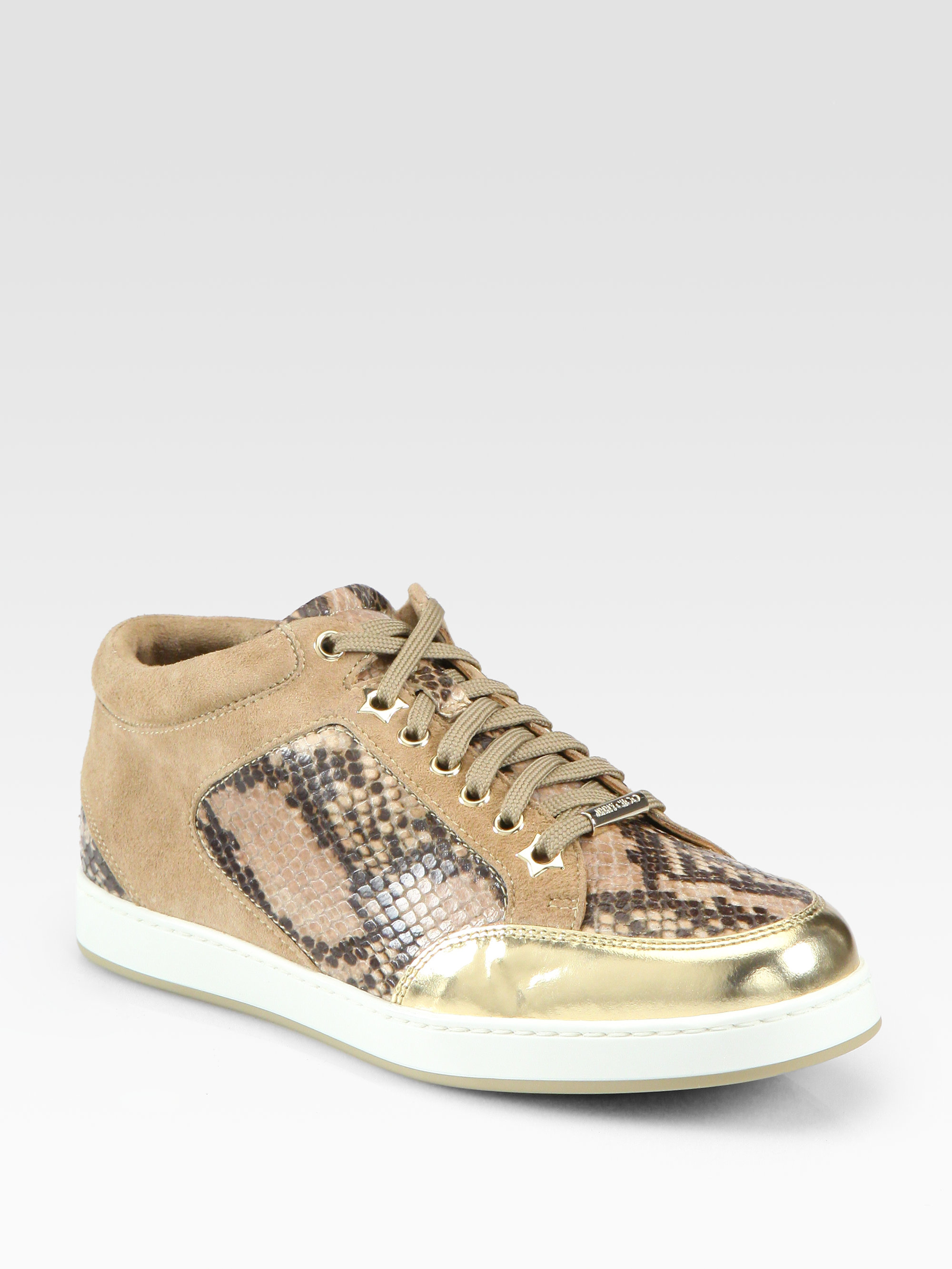 e944876fae sweden lyst jimmy choo miami snake print leather suede laceup sneakers in  e5629 71544