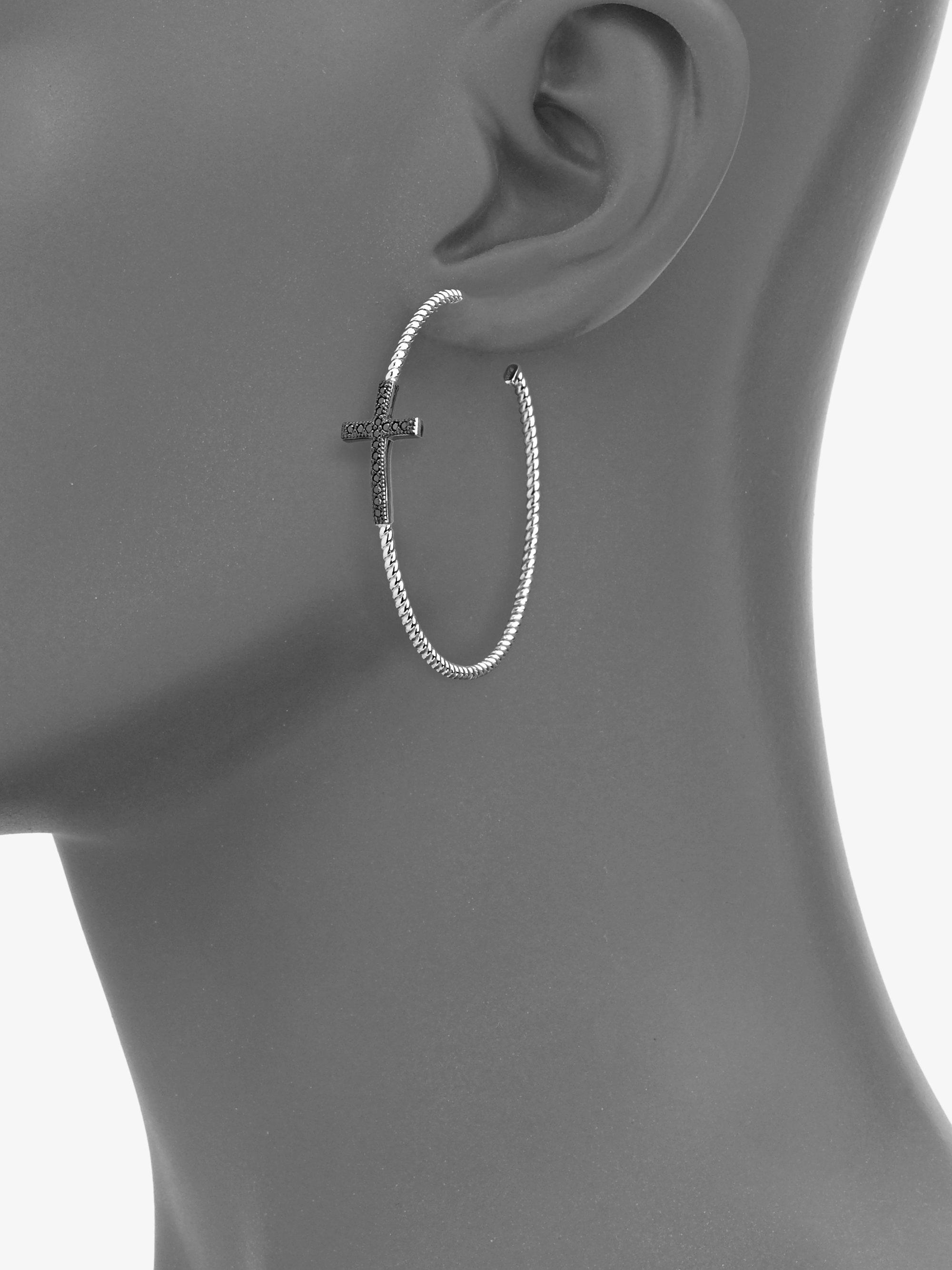 1322a09c16359 Large Silver Cross Hoop Earrings - Best All Earring Photos ...