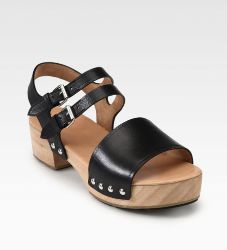 Marc By Marc Jacobs Leather Wooden Clog Sandals In Black | Lyst