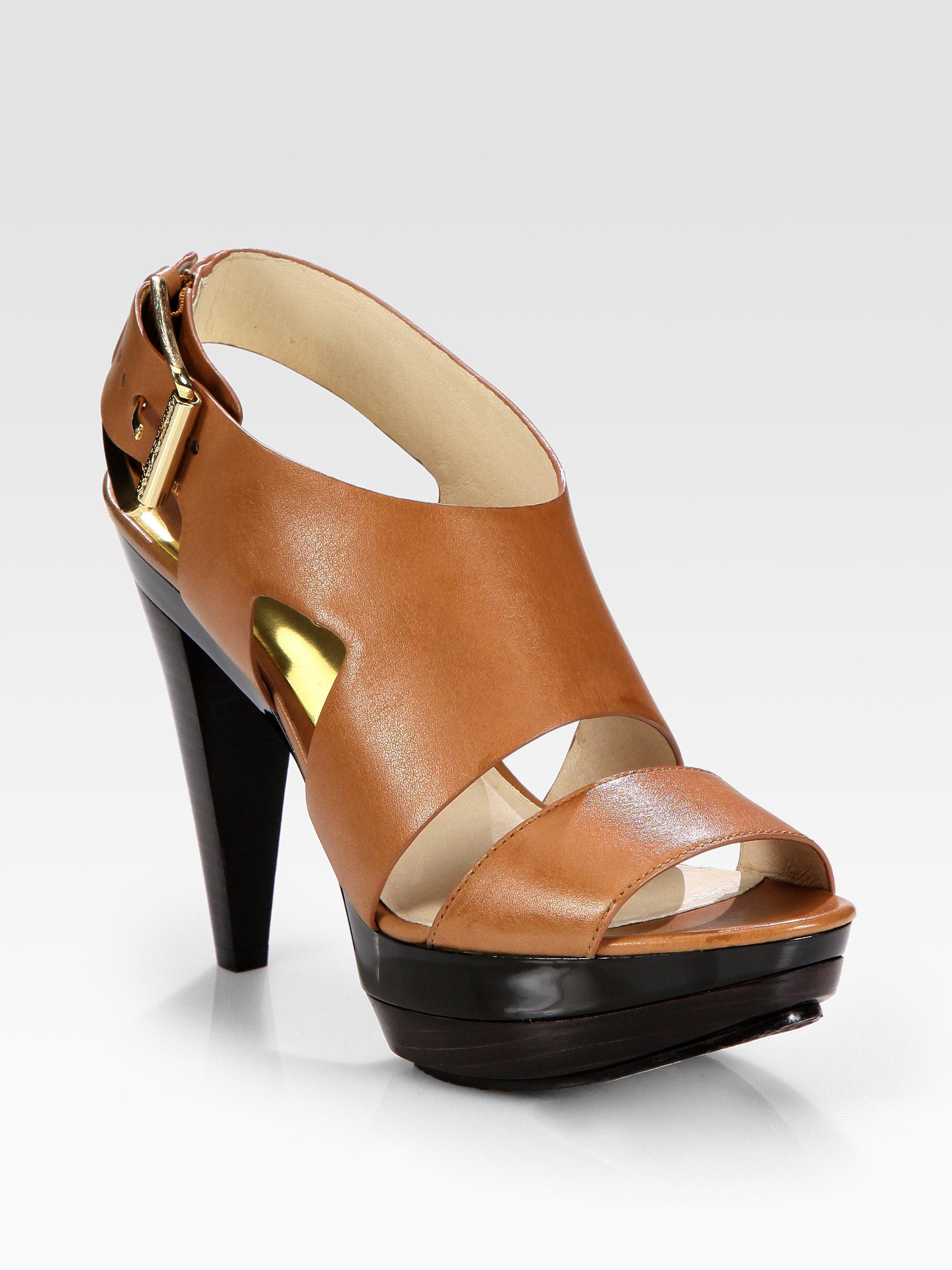Michael Michael Kors Carla Leather Platform Sandals In