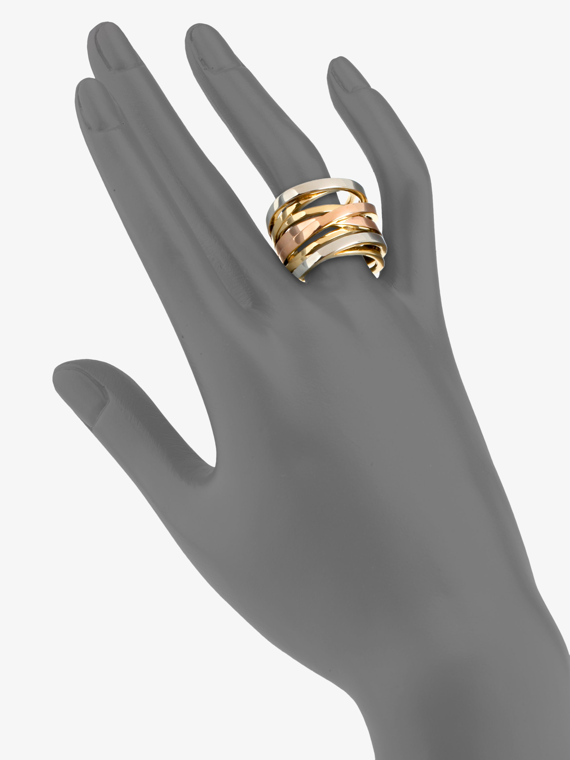 ring gallery tone tritone silver jewelry twisted rings lyst product multi gold kors michael tri