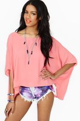 Nasty Gal Sunlight Dolman Top Coral - Lyst