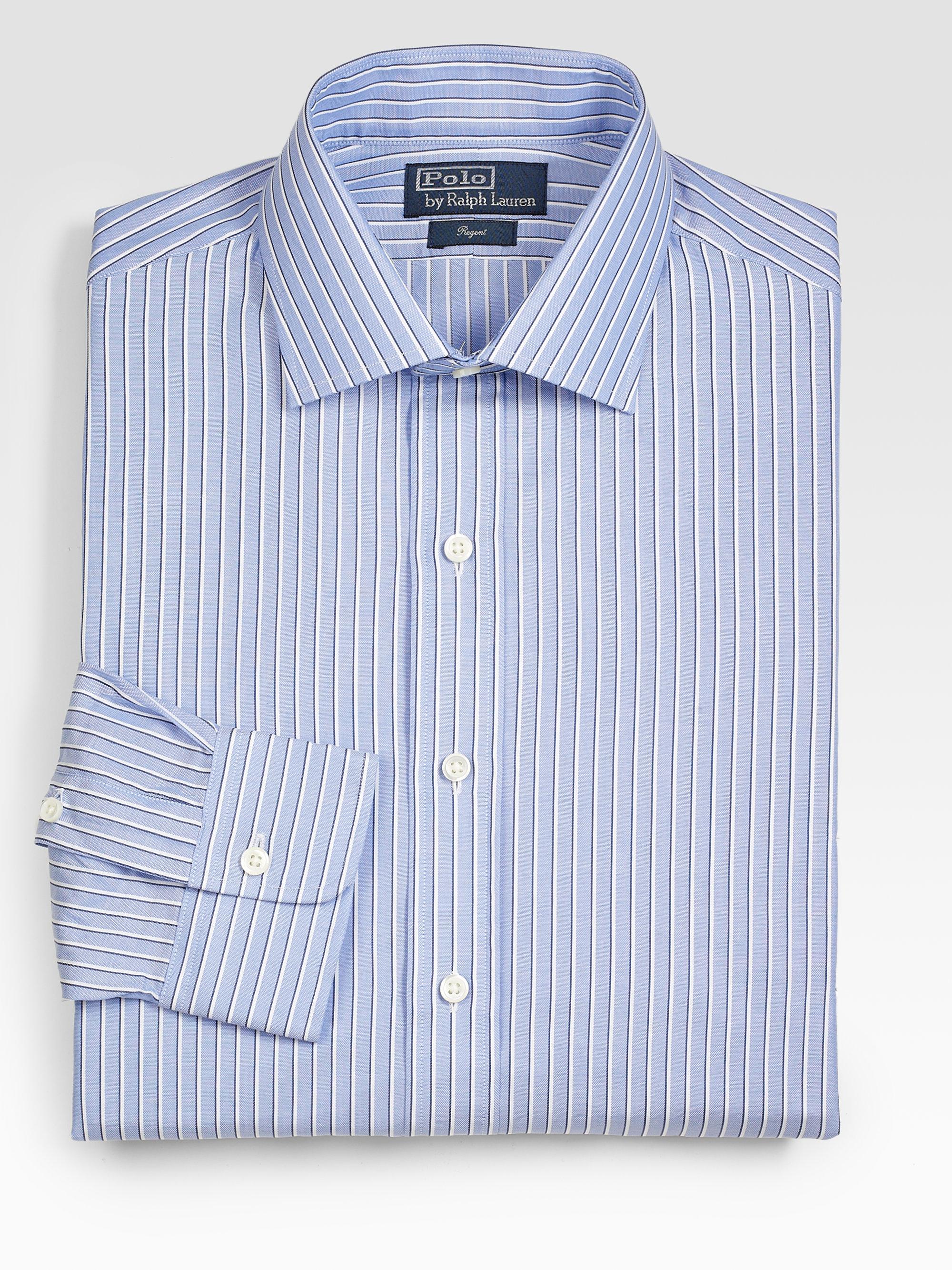 20b7e02f427 Polo Ralph Lauren Customfit Striped Regent Dress Shirt in Blue for ...