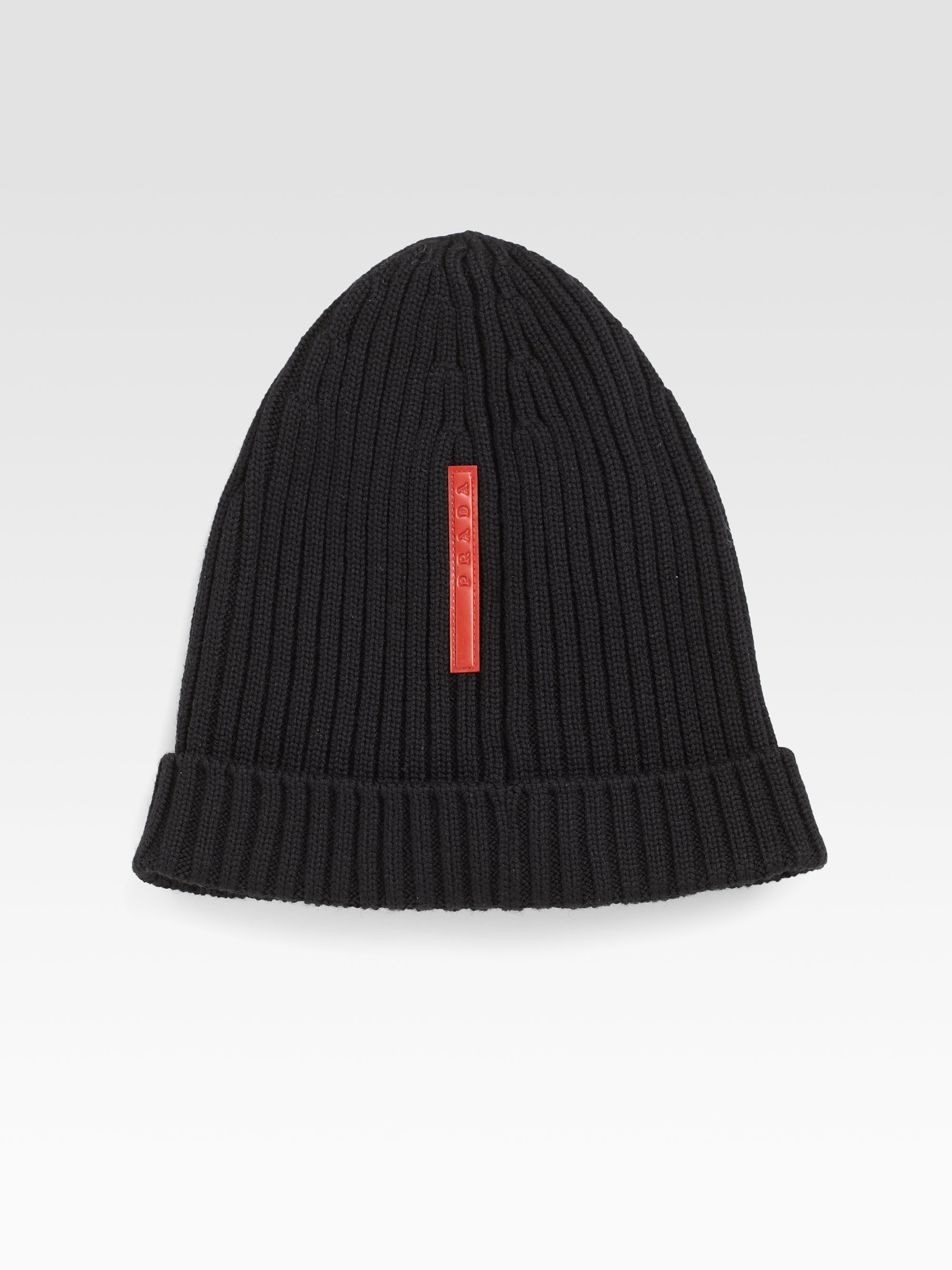 cc3af635cb3 Lyst - Prada Cappello Knit Hat in Black for Men