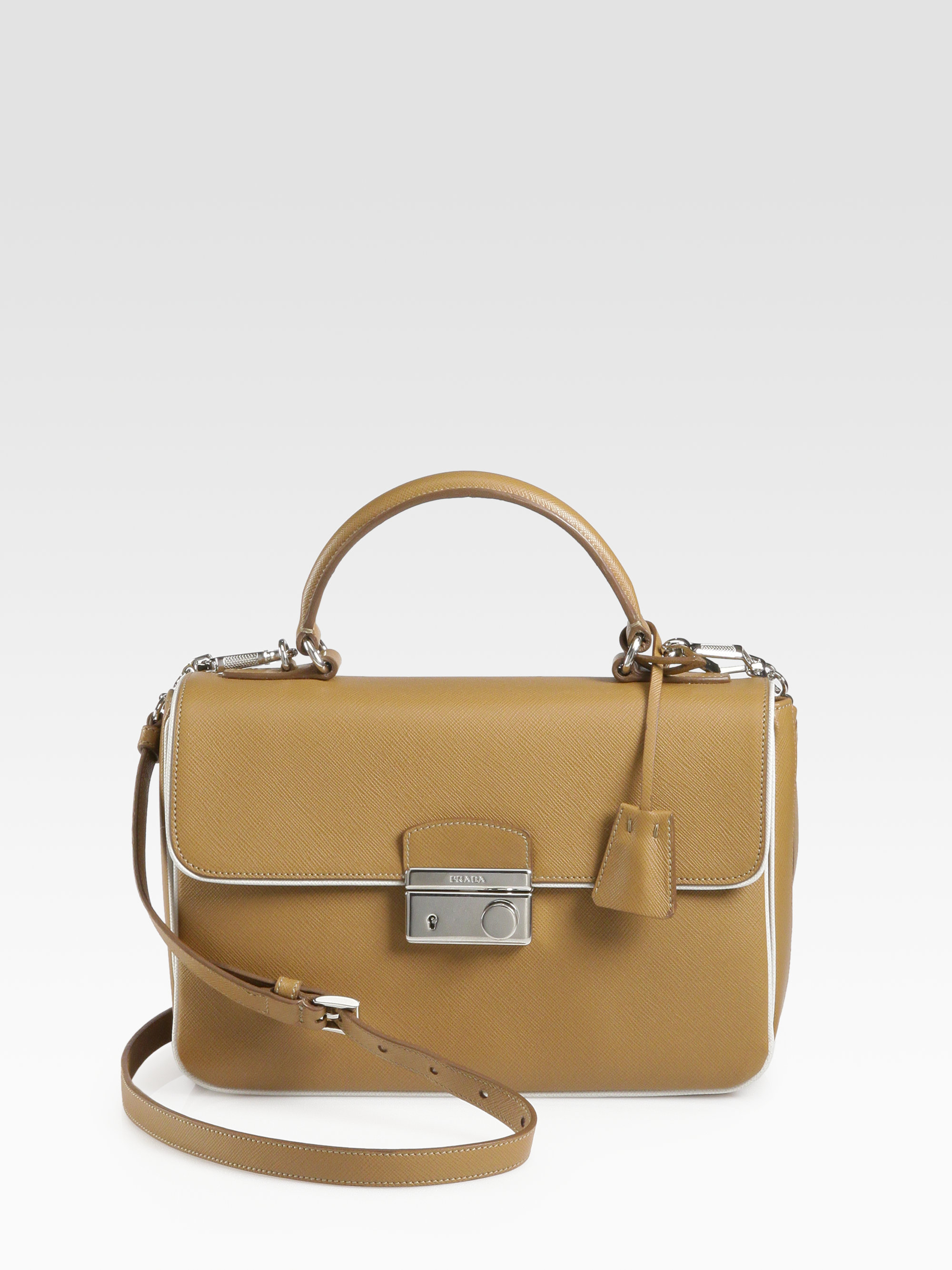 a9f0811f154005 Prada Saffiano Lux Crossbody Bag in Natural - Lyst