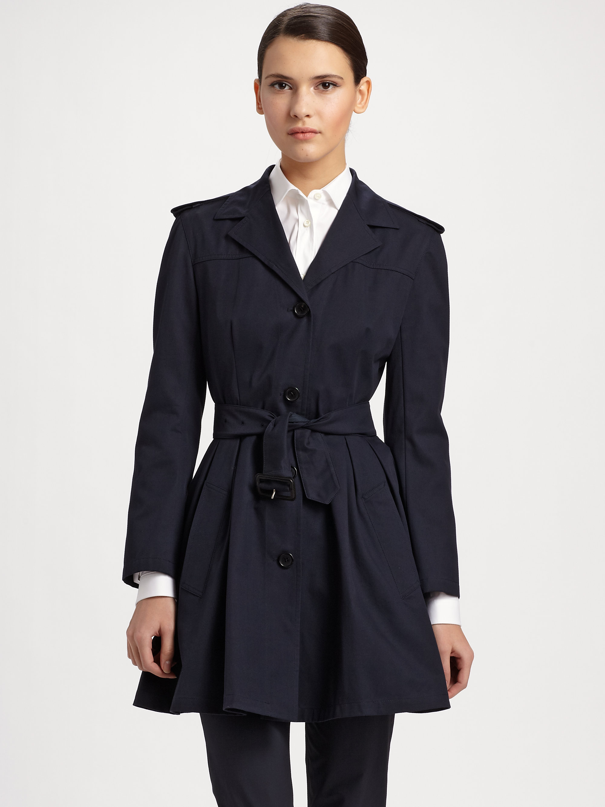 Lyst Prada Flared Belted Trench Coat In Blue