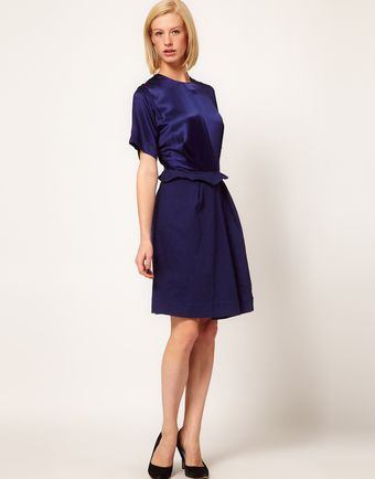 Preen Line Spy Dress with Satin Panel and Peplum - Lyst
