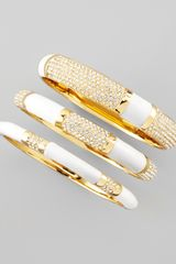 Rachel Zoe Set Of Three Crystal Bangles White - Lyst