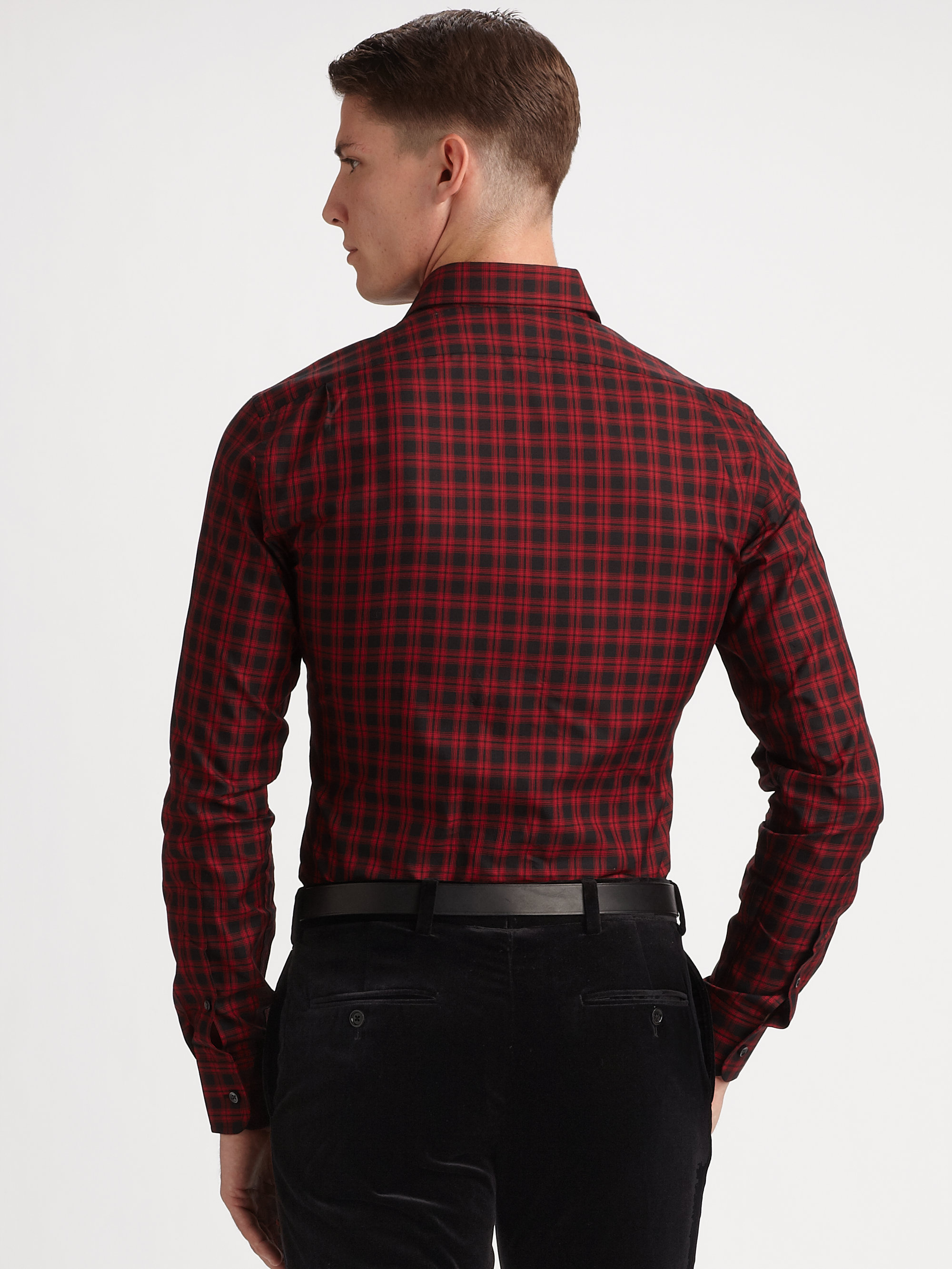 Real Lyst Ralph Lauren Black Label Bond Cotton Twill Check Shirt In Red 2a000 5e9d6