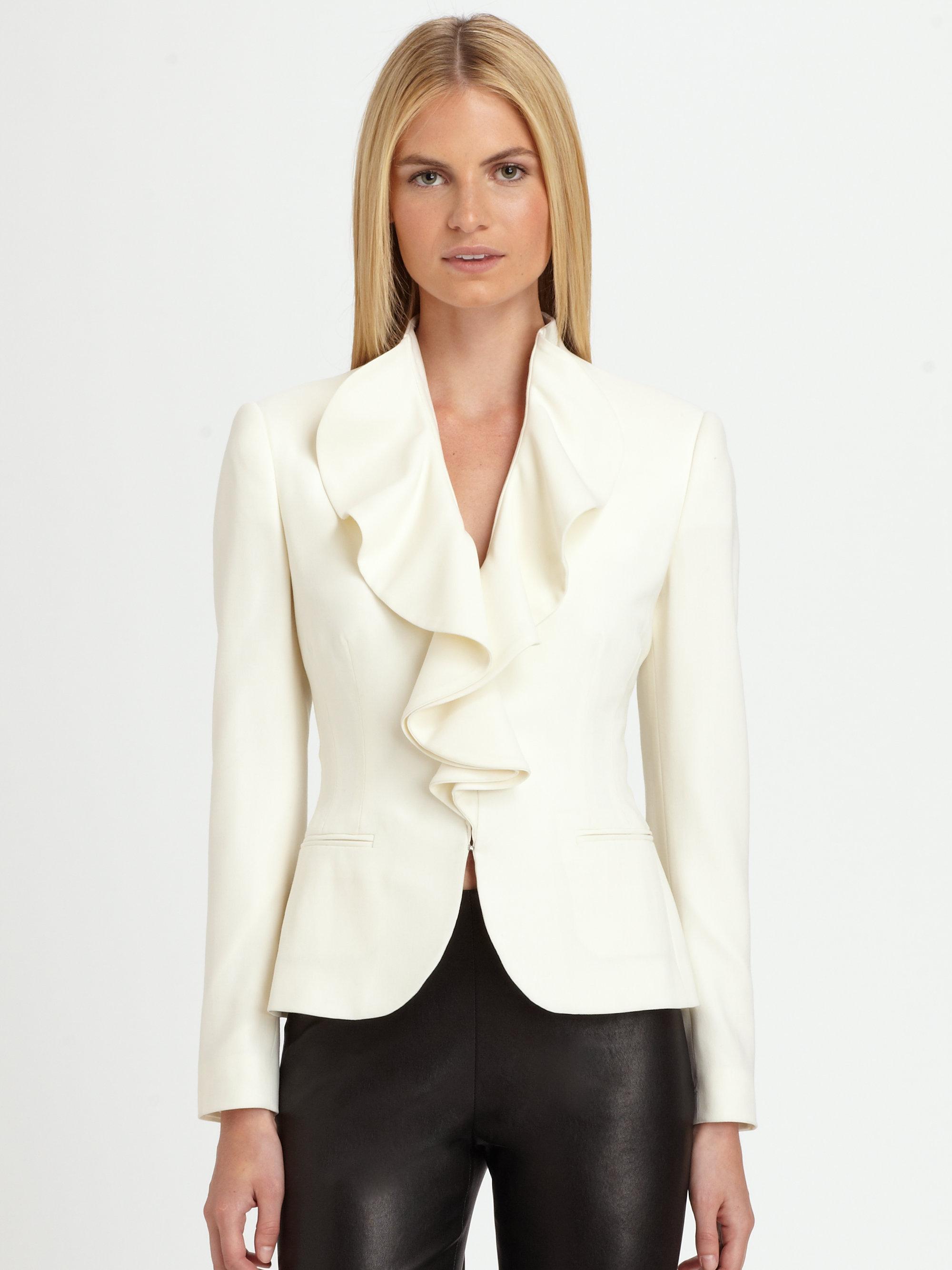 Ralph lauren black label Abriella Ruffle Jacket in White ...