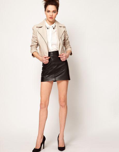 Sara Berman Mini Deni Leather Jacket In White Ivory Lyst