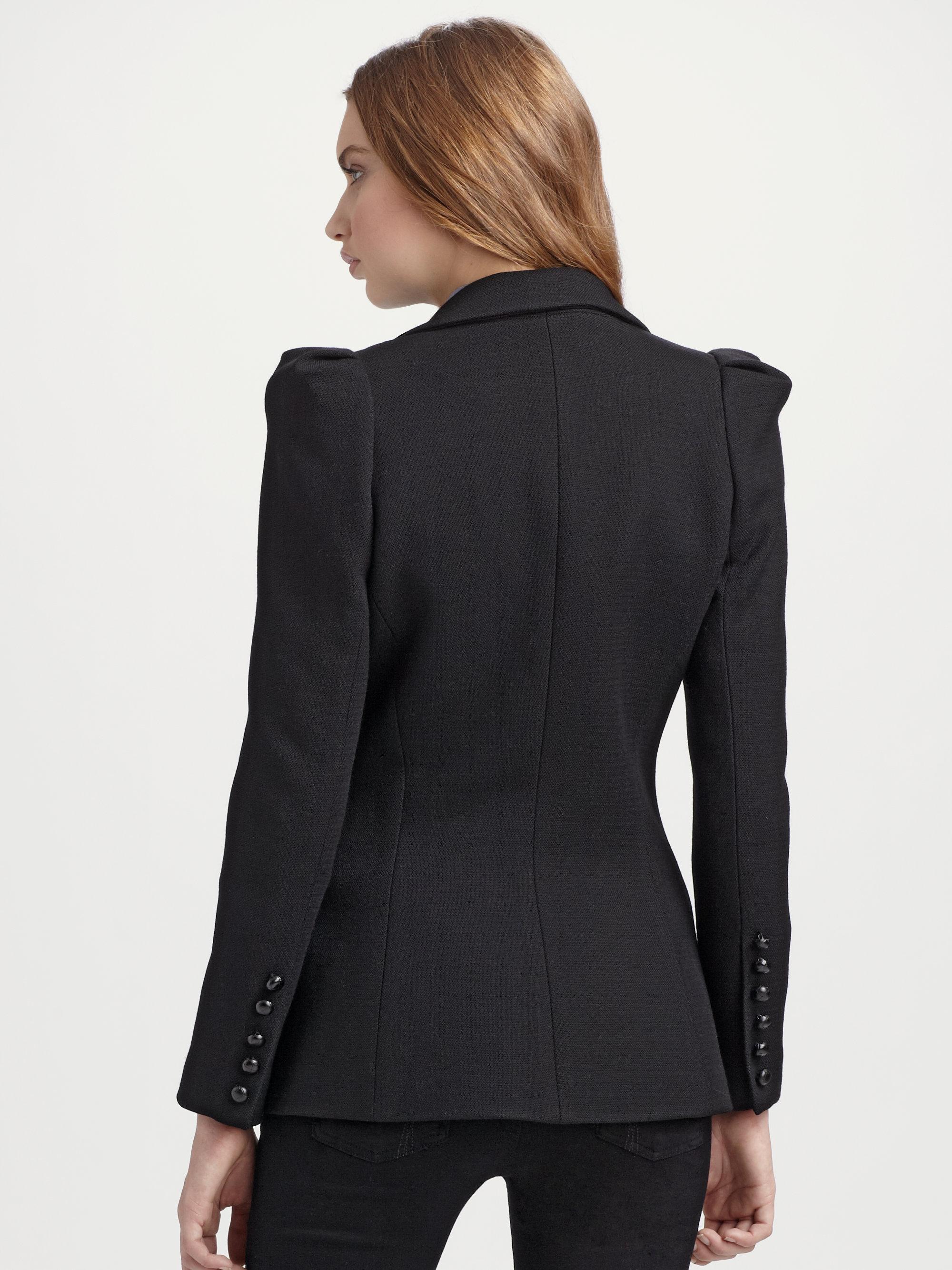 Smythe box pleat blazer in black lyst for Smythe inc