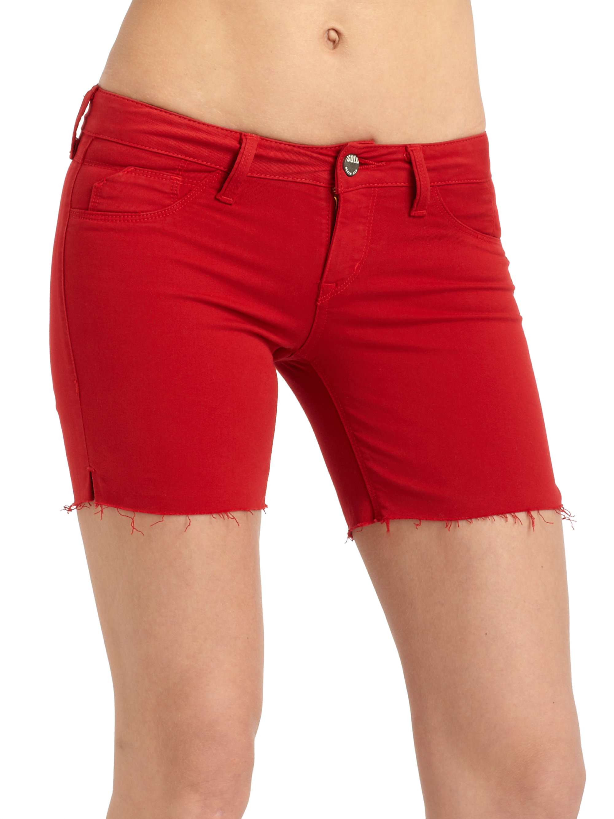 Sold design lab Parksde Colored Denim Shorts in Red | Lyst