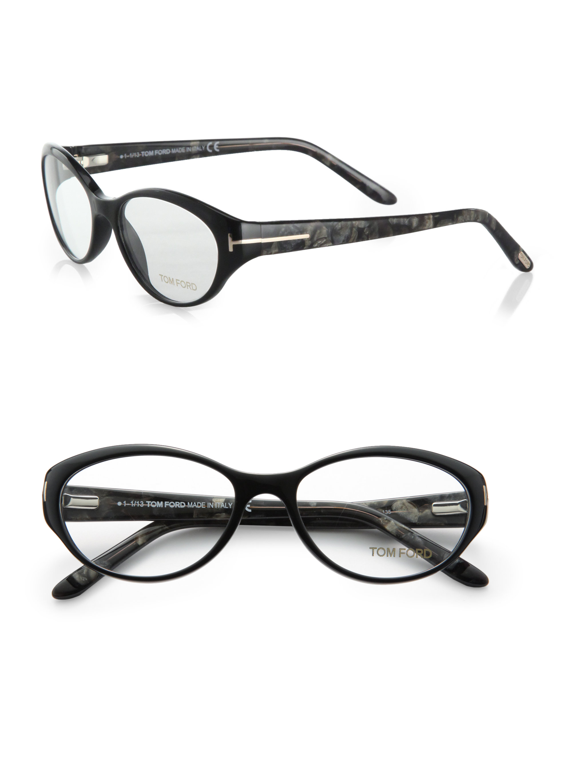 93cc247f5166 Lyst - Tom Ford Oval Acetate Reading Glasses in Black
