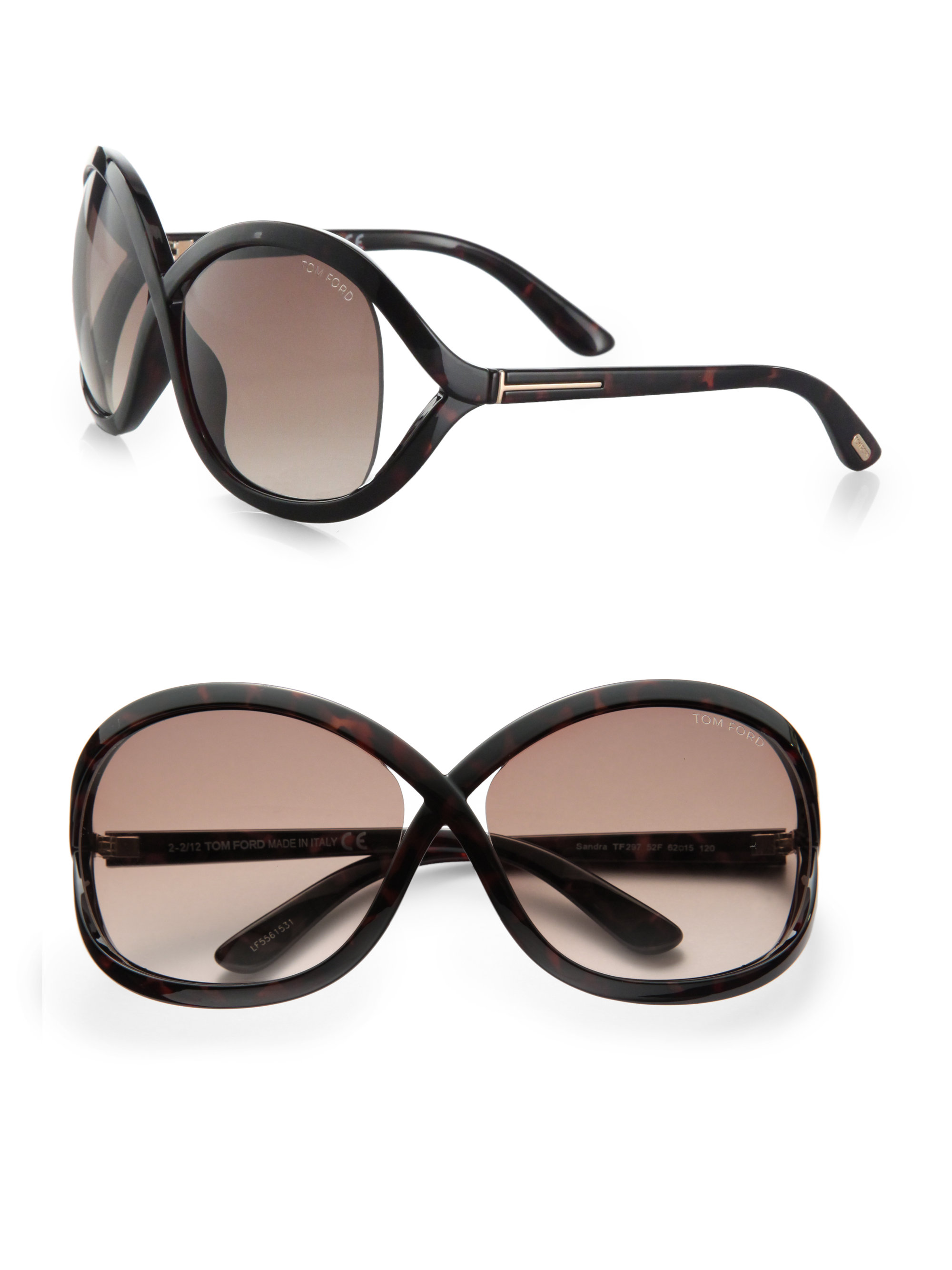 82bda9d69a3f8 Tom Ford Sandra Acetate Square Crossover Sunglasses in Black - Lyst