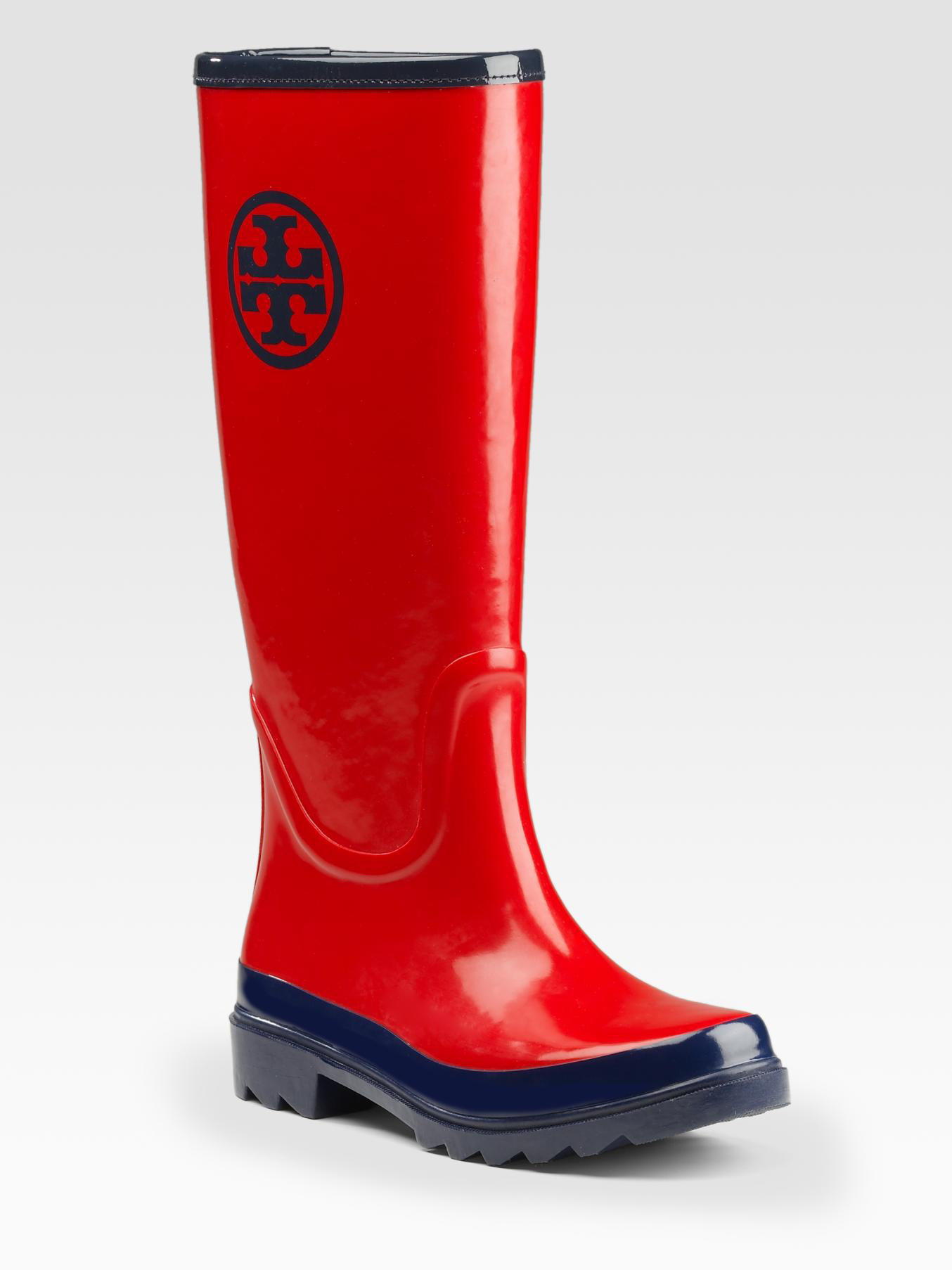 Tory Burch Logo Rainboots In Red Tory Red Lyst