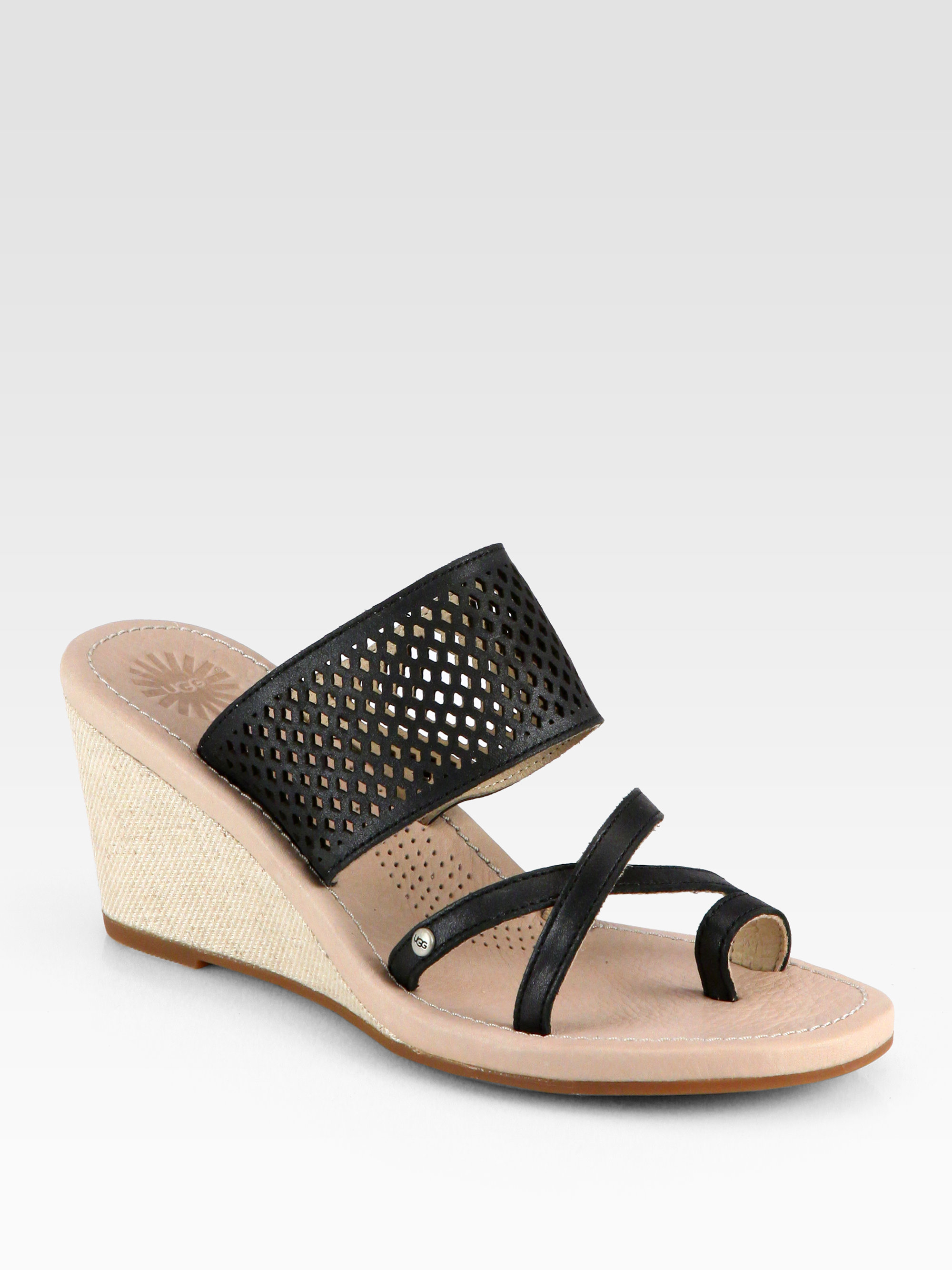 ugg neghan leather canvas wedge sandals in black lyst