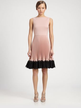 Valentino Lace Trimmed Techno Couture Plissea Cute Dress - Lyst