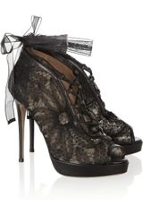 Valentino Leather and Lace Ankle Boots - Lyst