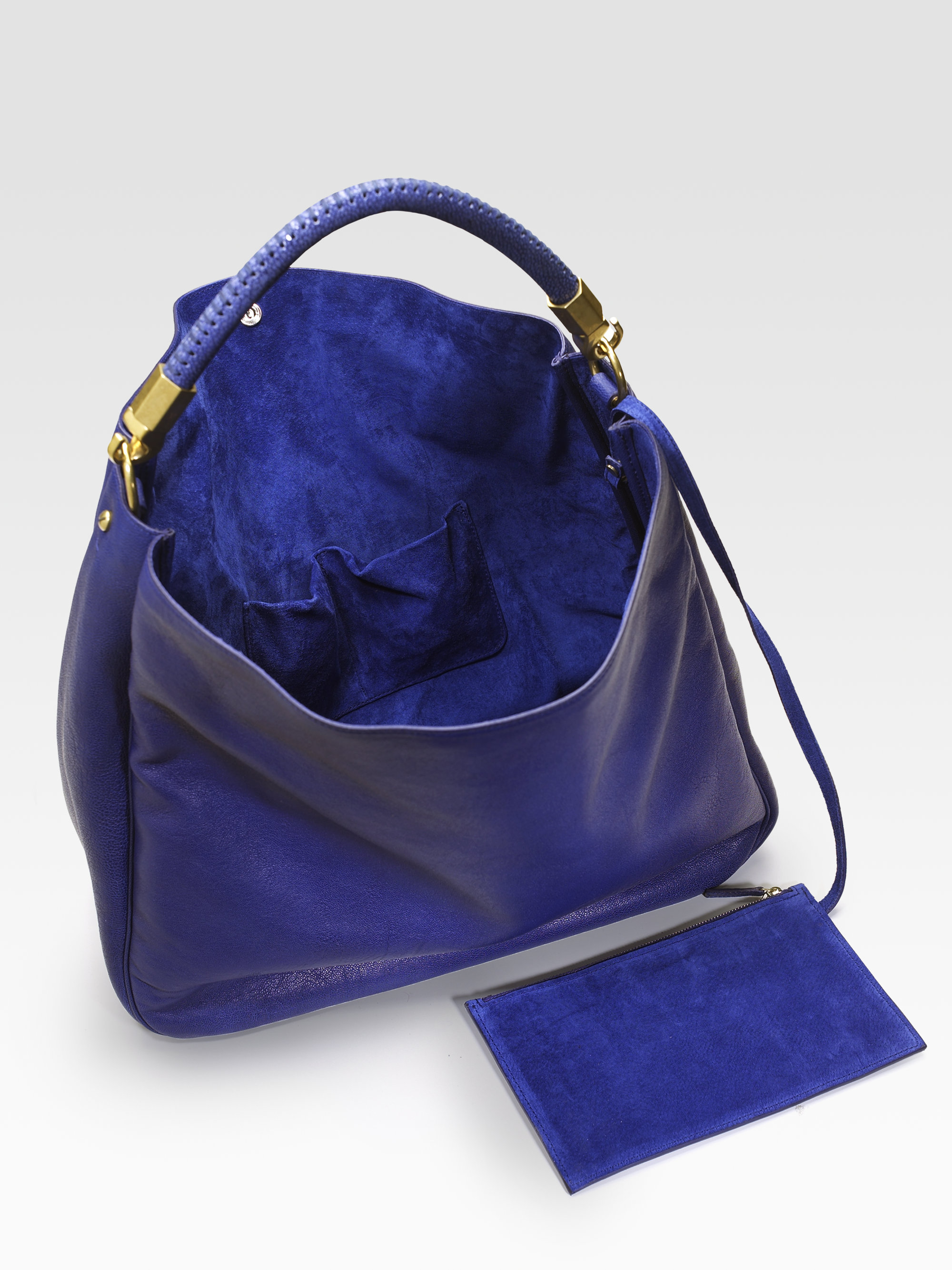Saint Laurent Ysl Large Leather Roady Hobo Bag In Blue Lyst