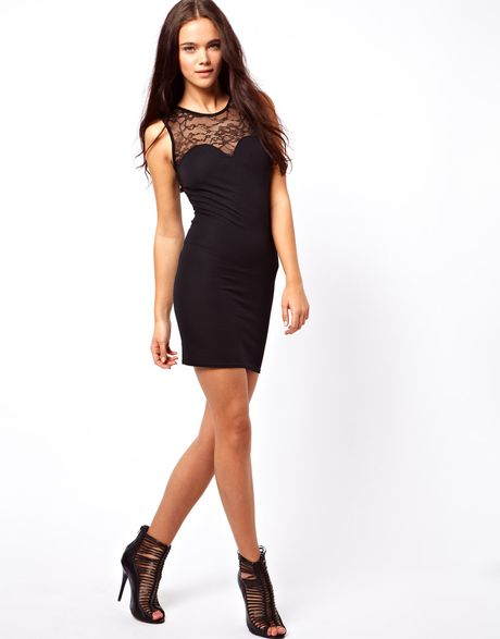 ... Exclusive Bodycon Dress with Lace Cut Out Back Dress in Black - Lyst