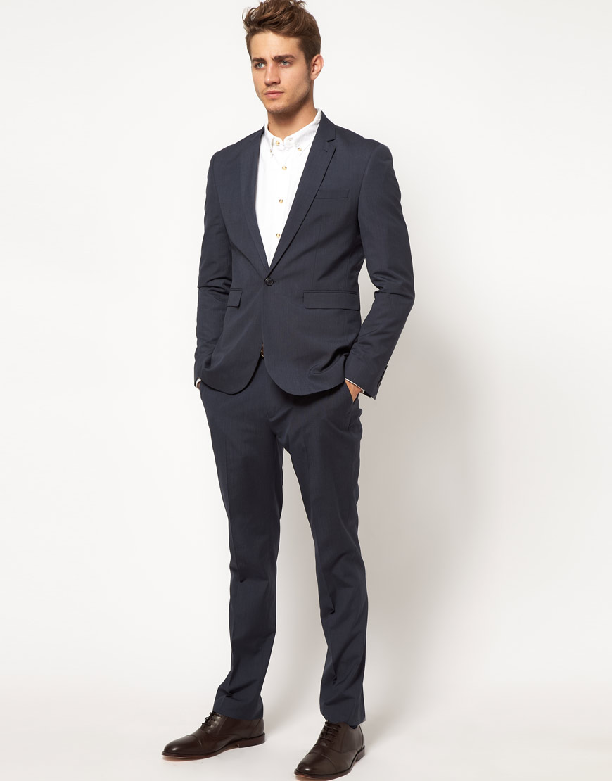Gloverall Asos Slim Fit Suit Pants in Blue in Blue for Men | Lyst