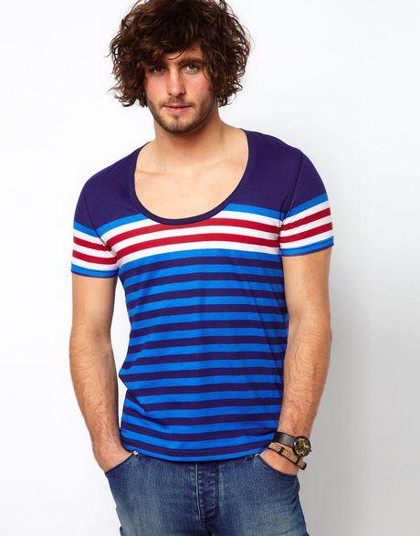 Asos stripe t shirt with deep scoop neck in blue for men for Deep scoop neck t shirt
