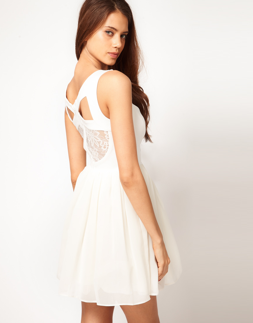 Lyst - Asos Prom Dress With Lace Back Detail in Natural