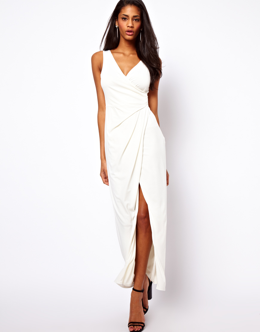 Asos Wrap Front Maxi Dress in White | Lyst