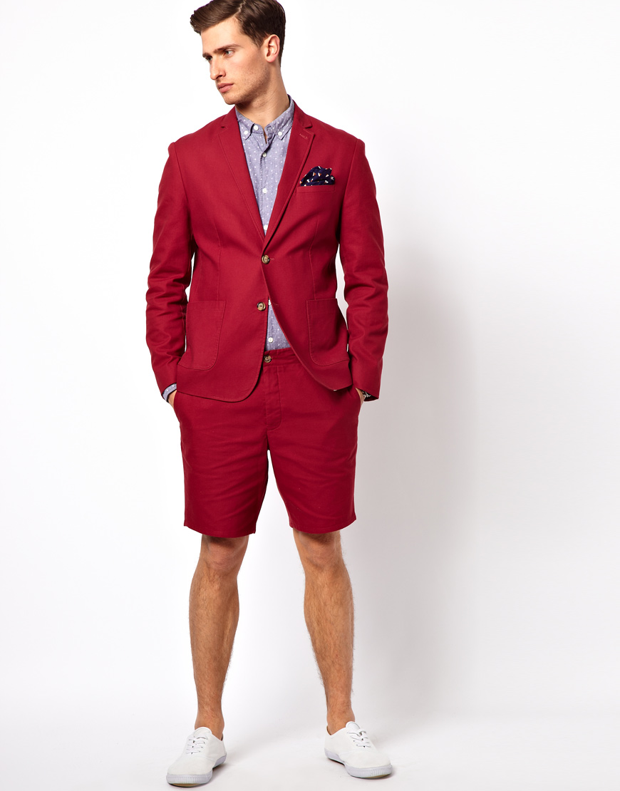Asos Slim Fit Suit Jacket in Cotton in Red for Men | Lyst