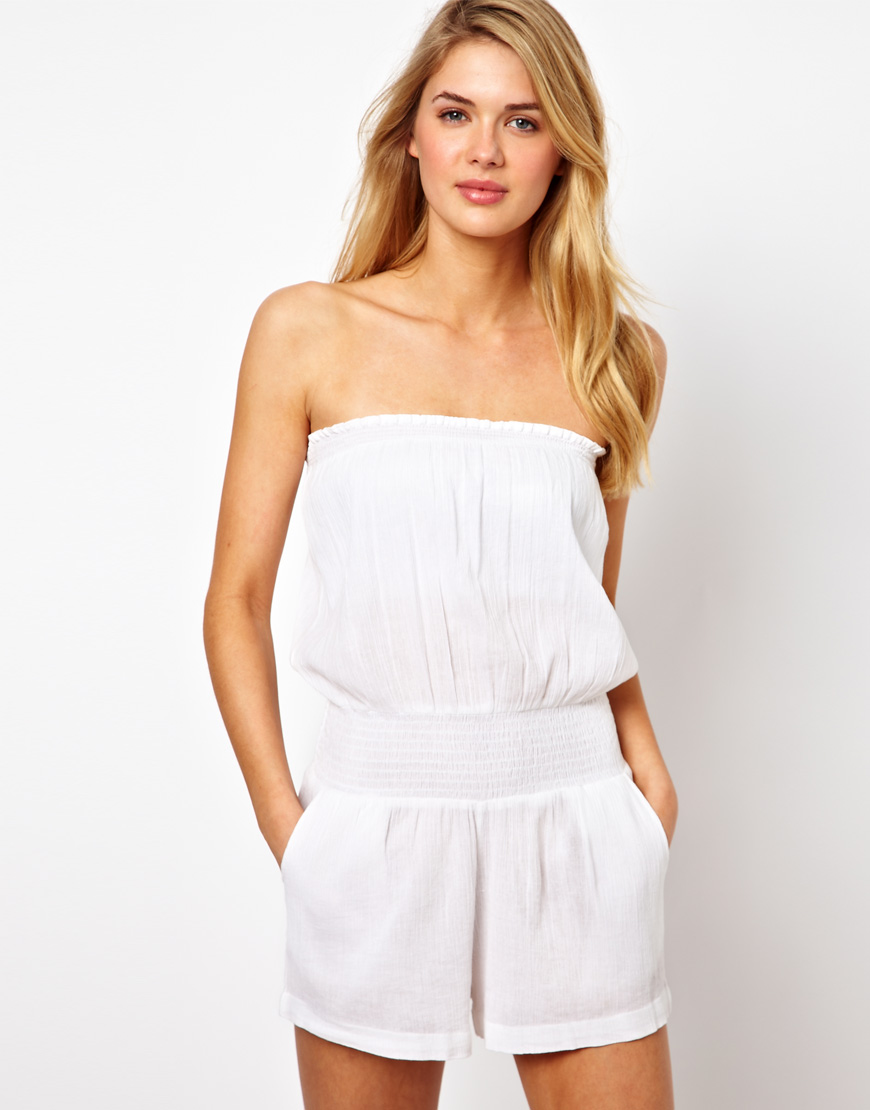 e457d14c8a8c6 Lyst - ASOS Cheesecloth Bandeau Beach Playsuit in White