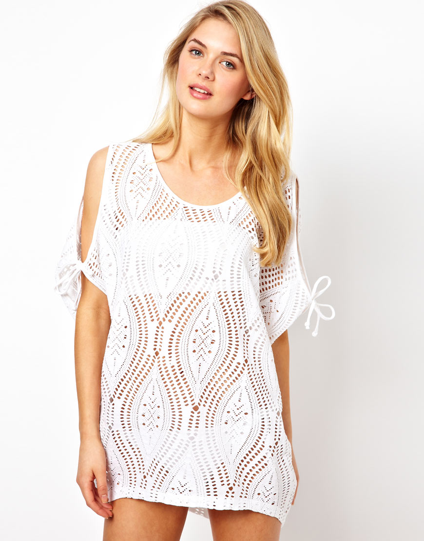 lyst asos lace cut out shoulder beach cover up in white. Black Bedroom Furniture Sets. Home Design Ideas