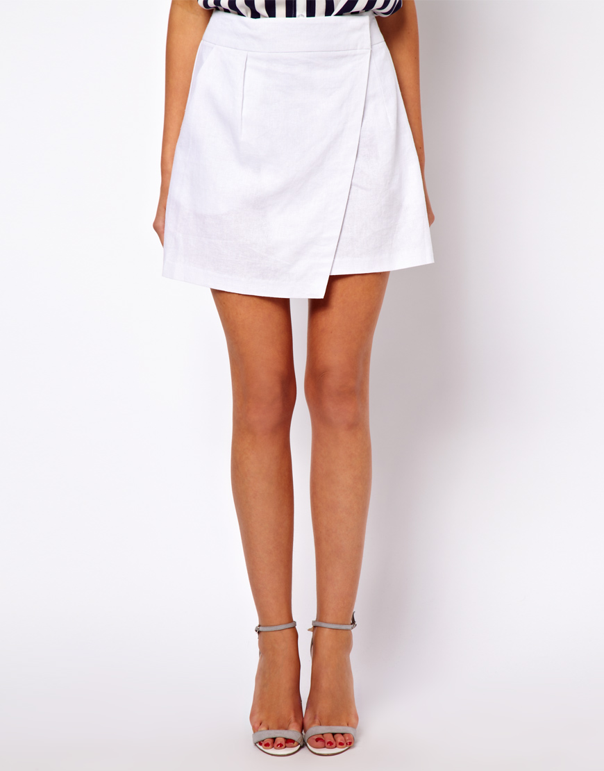 f8c63beb6c ASOS Linen Mini Skirt with Wrap Detail in Yellow - Lyst