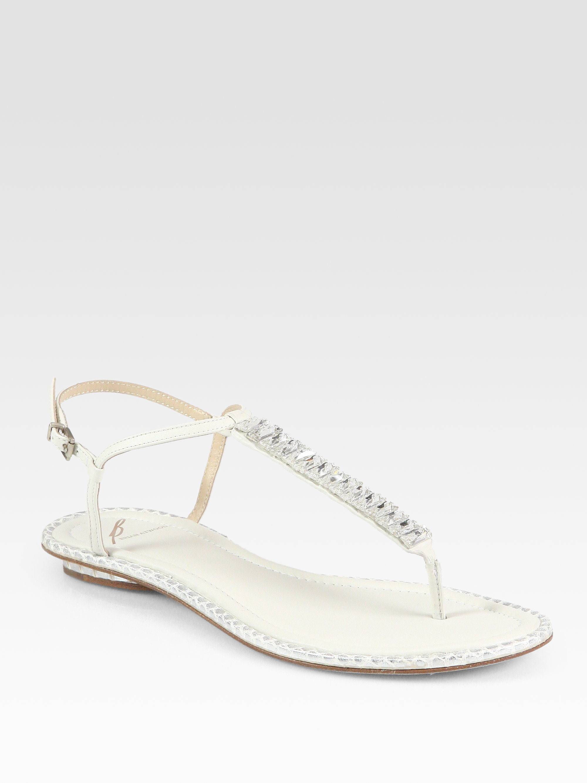 9bced974904b6 Lyst - B Brian Atwood Jeweled Leather Thong Sandals in White