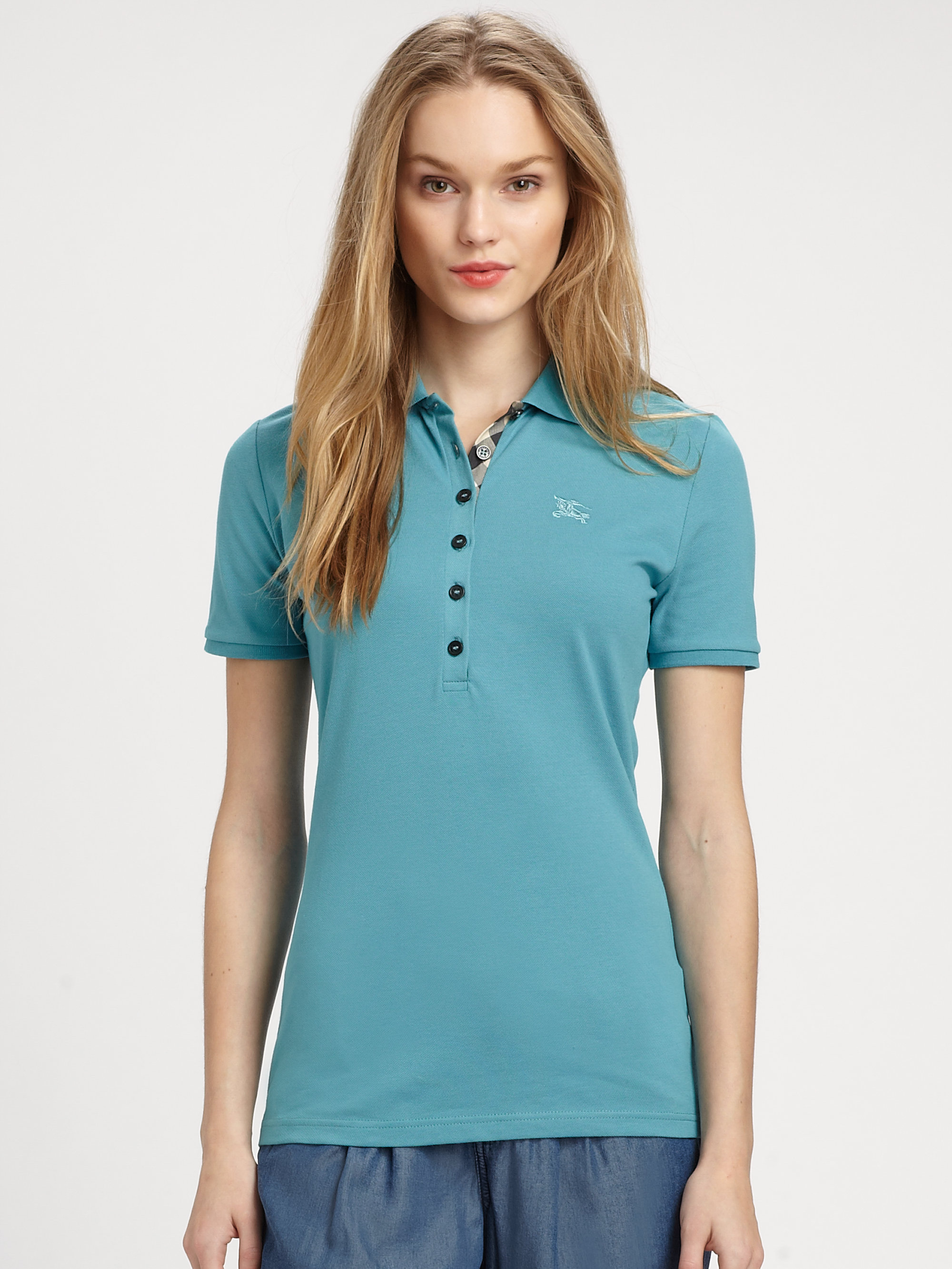 Lyst burberry brit jersey polo shirt in blue for Cobalt blue polo shirt