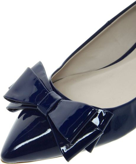 Dune Lavish Pointed Toe Bow Flats In Blue Navypatent Lyst