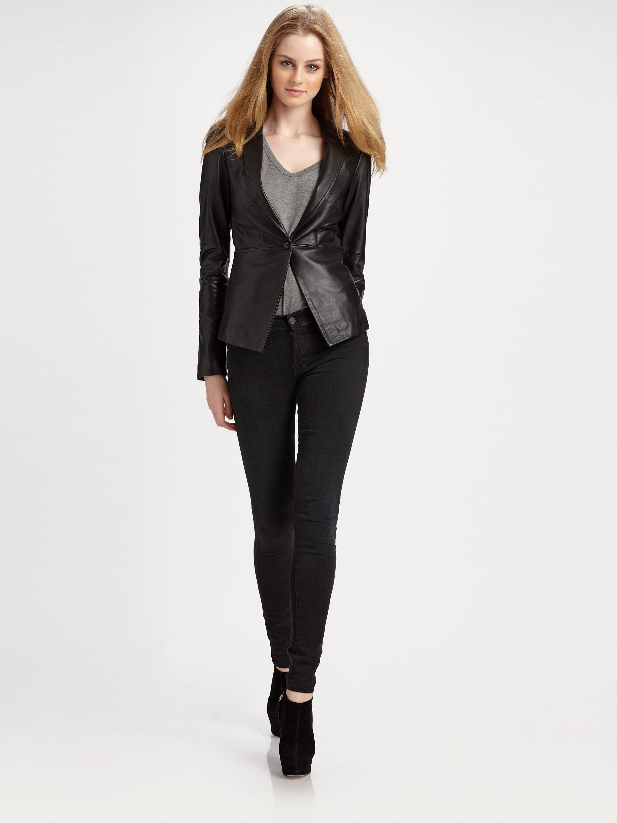 lyst elizabeth and james ziggy leather blazer in black. Black Bedroom Furniture Sets. Home Design Ideas