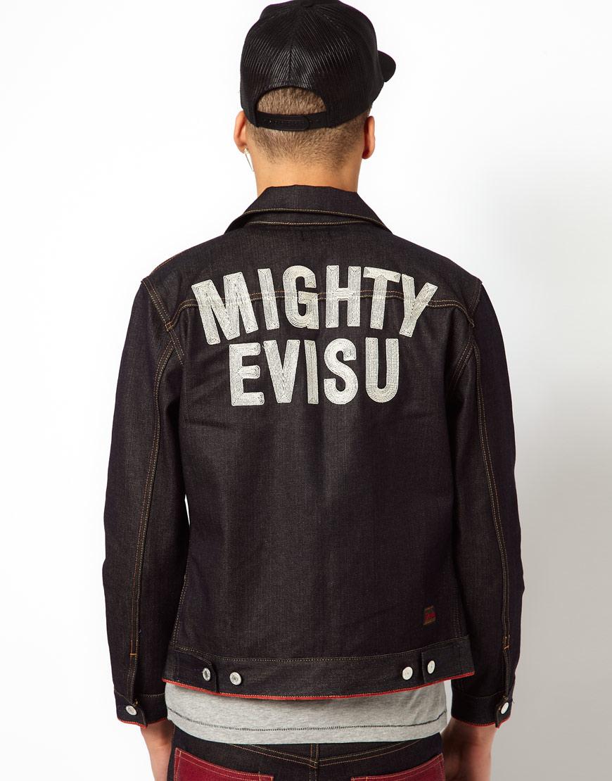 7028ee2f644c Lyst - Evisu Denim Jacket Hajima Embroid Back in Blue for Men
