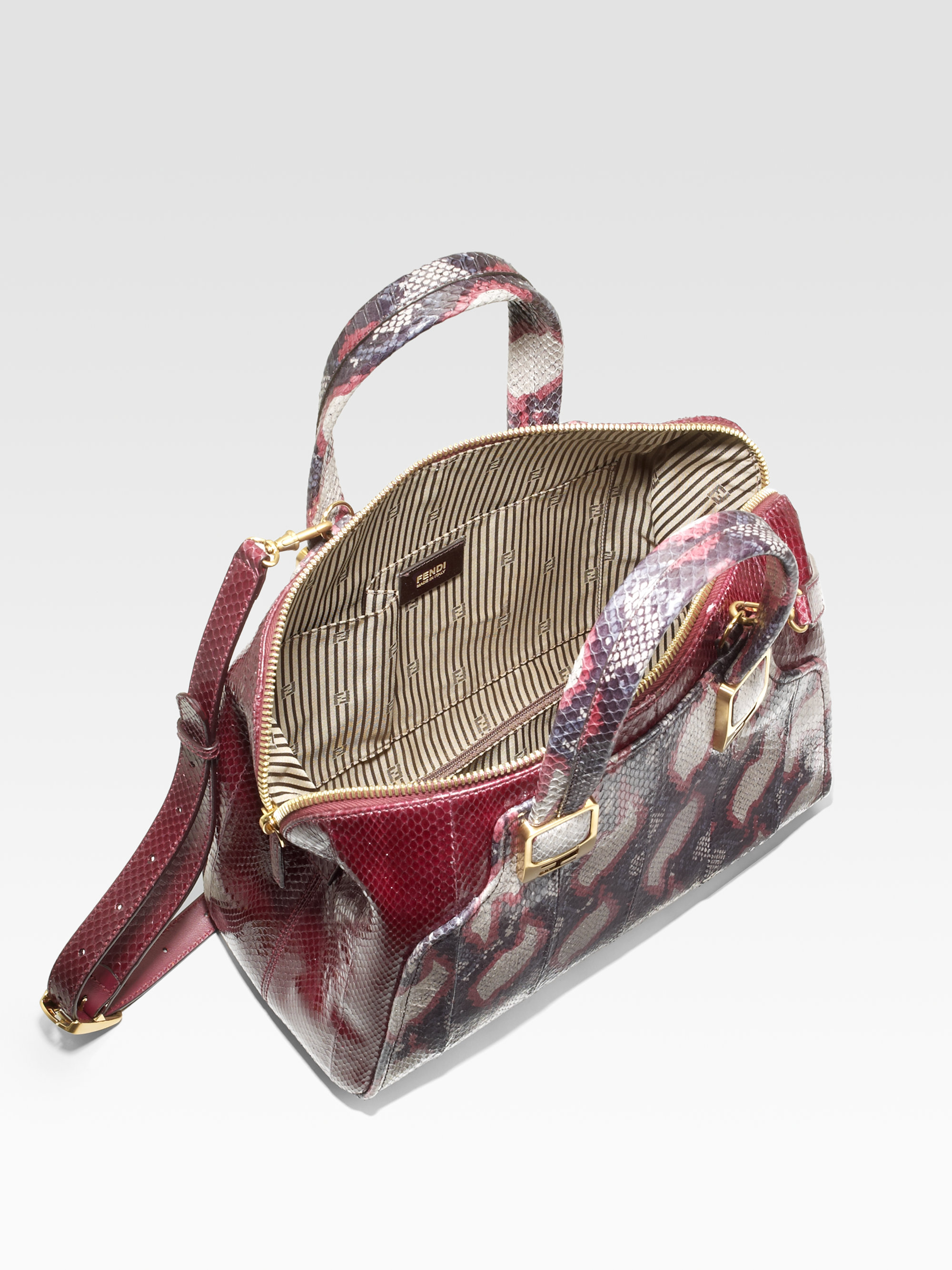 Fendi Ayers Python Top Handle Bag in Purple (burgundy-grey) | Lyst