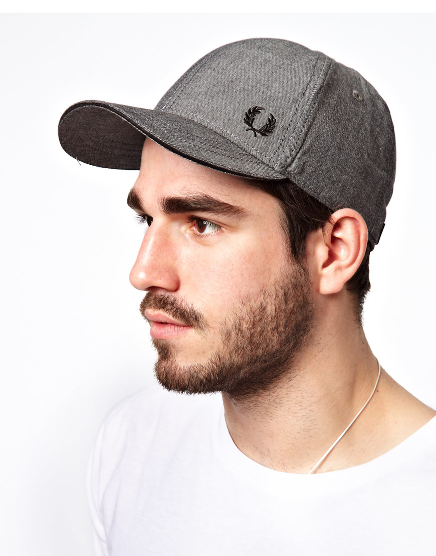 fred perry chambray cap in black for men lyst. Black Bedroom Furniture Sets. Home Design Ideas