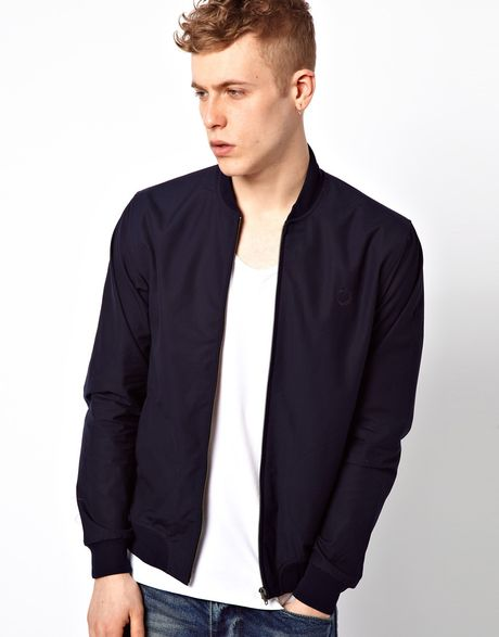 fred perry laurel wreath bomber jacket in blue for men navy lyst. Black Bedroom Furniture Sets. Home Design Ideas