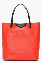 Givenchy Poppy Red Pebbled Leather Vertical Antigona Shopper Tote - Lyst